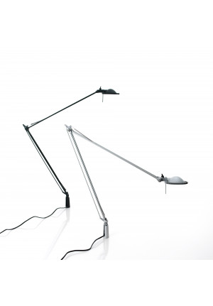 Luceplan Berenice Tavolo fixing pin aluminium with reflector aluminium and black with reflector in black