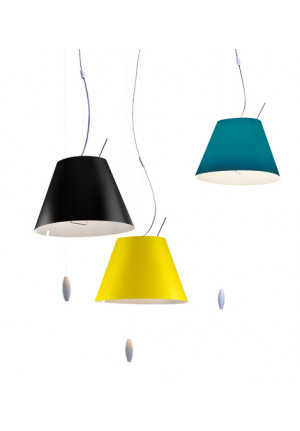 Luceplan Costanzina Suspension black, yellow and and blue
