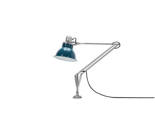 Anglepoise Type 1228 Lamp with Desk Insert blau ausgeschaltet