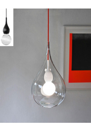 Next Blubb 2 Pendant with clear shade, opal socket and red cable