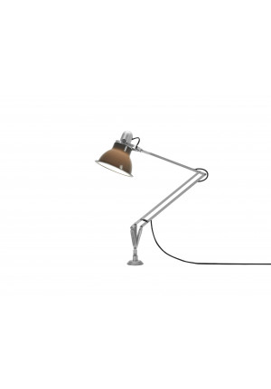 Anglepoise Type 1228 Lamp with Desk Insert grey switched on