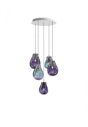 Bomma Soap chandelier with 5 lamps multicolour, 2 x Soap Large purple, 1 x Soap Large green, 1 x Soap Small purple, 1 x Soap Small green