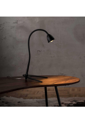 Less'n'more Athene Table Light small A-TL1 black, flex arm textile black (Lamp base in black on request)