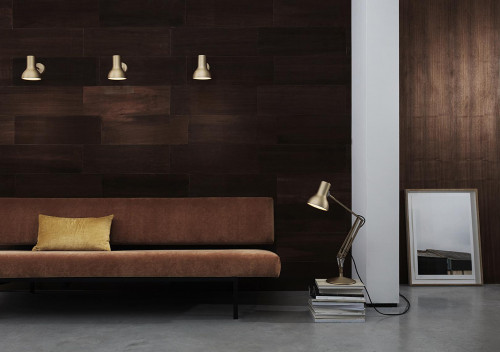 Anglepoise Type 75 Mini Metallic Wall Light gold (at the left)