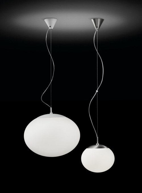 Bover Elipse S/50 white and nickel suspension