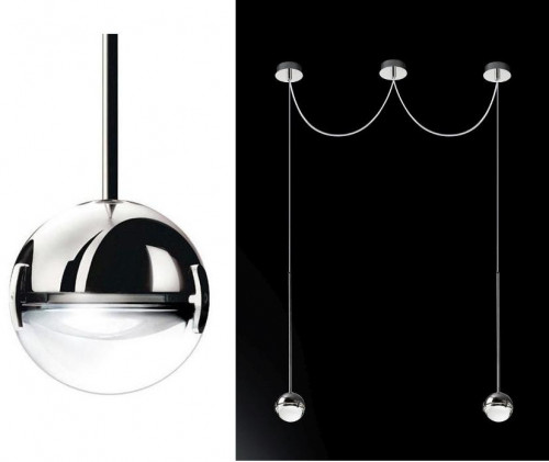 Cini & Nils Convivio pendant lamp 2-lights LED chrome
