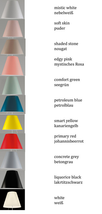 Luceplan Costanza shade colours