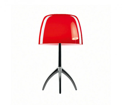 Foscarini Lumiere 05 Piccola cherryred frame chrome black on switched