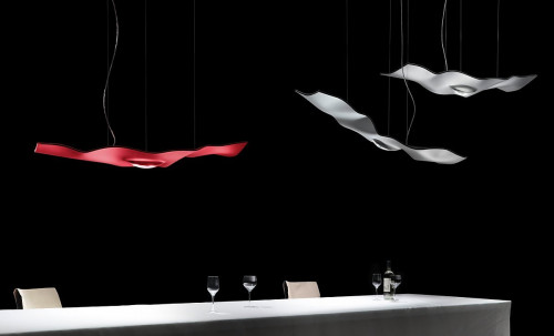 Ingo Maurer Luce Volante red and white