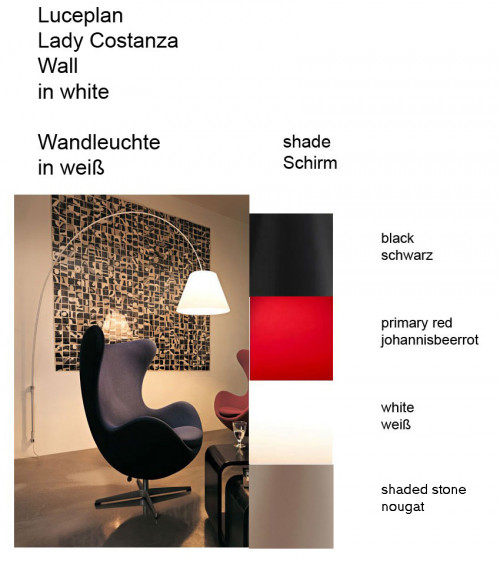 Luceplan Lady Costanza Wall Switch shade colours