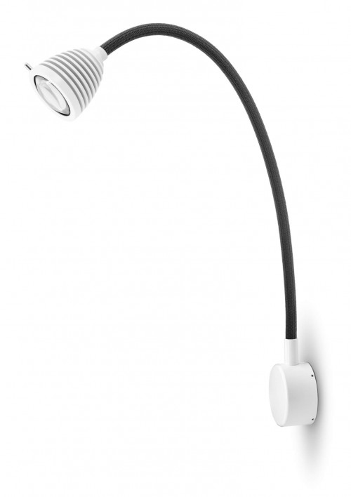 Less'n'more Athene Wall Light A-MWL2 white, flex arm textile anthracite