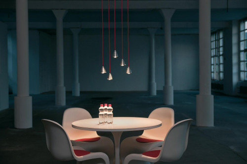 Less'n'more Athene Pendant Light A-BPL aluminum, cable red
