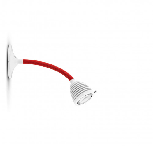 Less'n'more Athene Wall / Ceiling Light A-MDL1 white, flex arm textile red