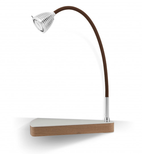 Less'n'more Dr Wattson Athene Bedside Table DR-A aluminum, flexible arm textile brown, right