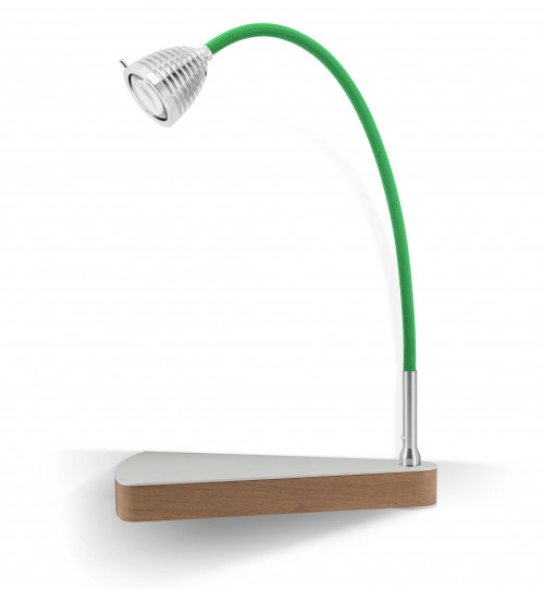 Less'n'more Dr Wattson Athene Bedside Table DR-A aluminum, flexible arm textile green, right
