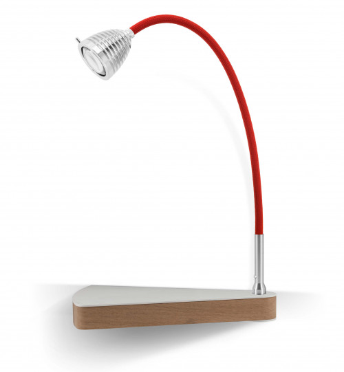 Less'n'more Dr Wattson Athene Bedside Table DR-A aluminum, flexible arm textile red, right