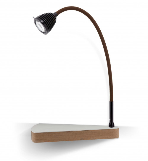 Less'n'more Dr Wattson Athene Bedside Table DR-A black, flexible arm textile brown, right