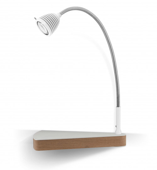 Less'n'more Dr Wattson Athene Bedside Table DR-A white, flexible arm aluminum, right