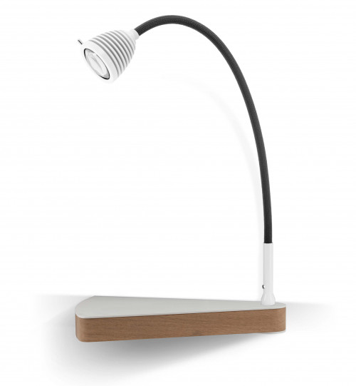 Less'n'more Dr Wattson Athene Bedside Table DR-A white, flexible arm textile anthracite, right