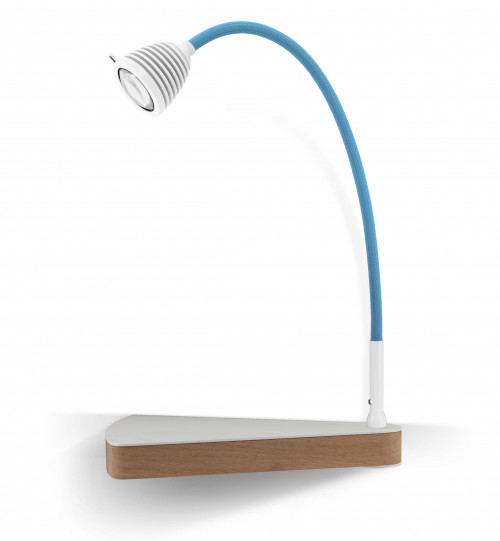 Less'n'more Dr Wattson Athene Bedside Table DR-A white, flexible arm textile blue, right