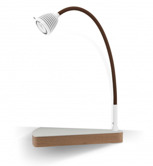 Less'n'more Dr Wattson Athene Bedside Table DR-A white, flexible arm textile brown, right