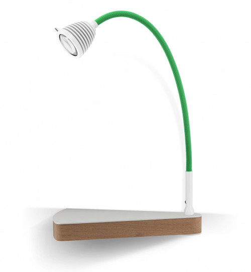 Less'n'more Dr Wattson Athene Bedside Table DR-A white, flexible arm textile green, right