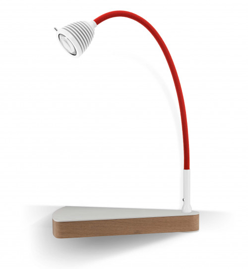 Less'n'more Dr Wattson Athene Bedside Table DR-A white, flexible arm textile red, right