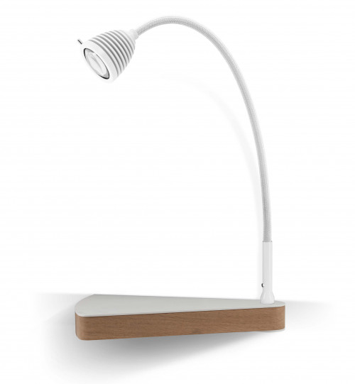 Less'n'more Dr Wattson Athene Bedside Table DR-A white, flexible arm textile white, right