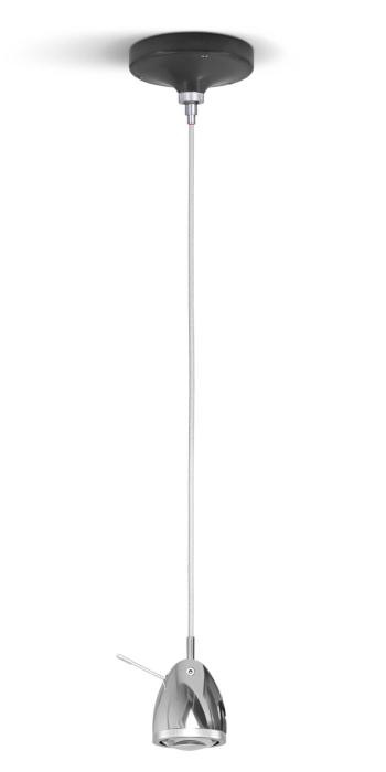 Less'n'more Ylux Pendant Light head aluminum polished, canopy grey, cable white