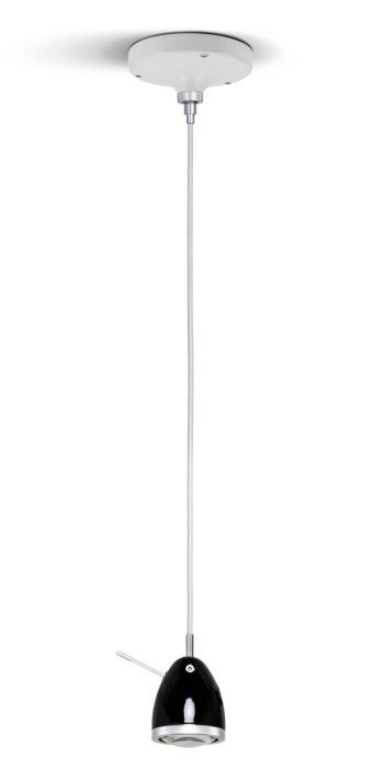 Less'n'more Ylux Pendant Light head glossy black, canopy white, cable white