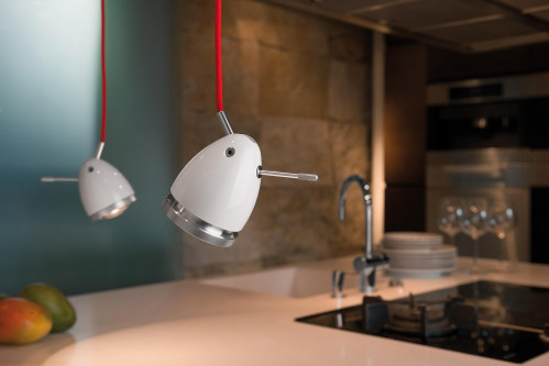 Less'n'more Ylux Pendant Light head glossy white, cable red