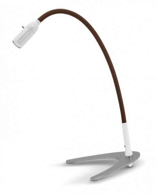 Less'n'more Zeus Table Light Z-TL white, flex arm textile brown