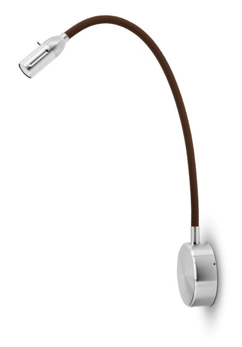 Less'n'more Zeus Wall Light Z-BWL2 aluminum, flex arm textile brown