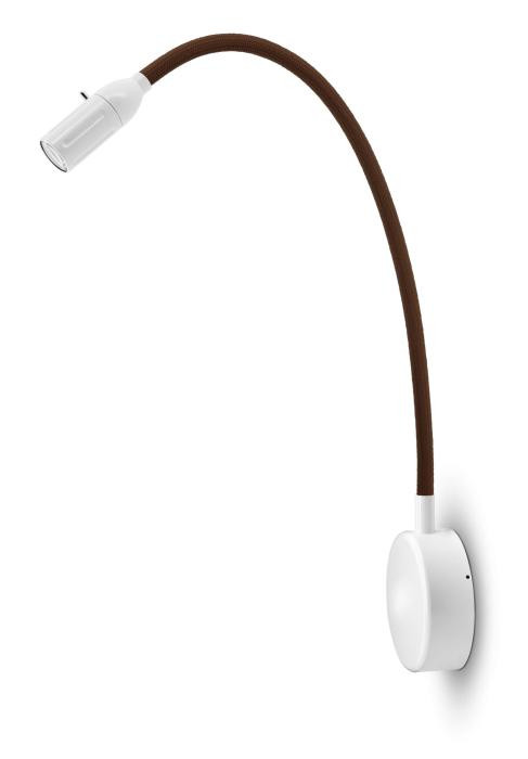 Less'n'more Zeus Wall Light Z-BWL2 white, flex arm textile brown