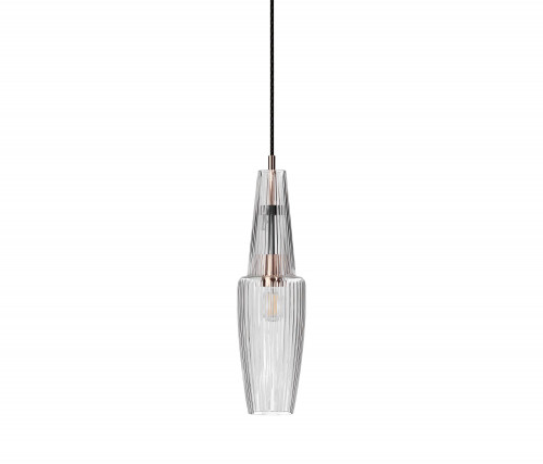 Mawa Pisa clear glossy version 3, mounting rose-gold, canopy black, inside rose-gold