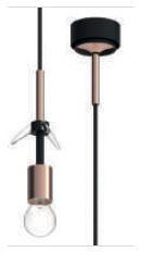 Mawa Pisa clear glossy version 3, mounting rose-gold, canopy black, inside rose-gold (graphic)