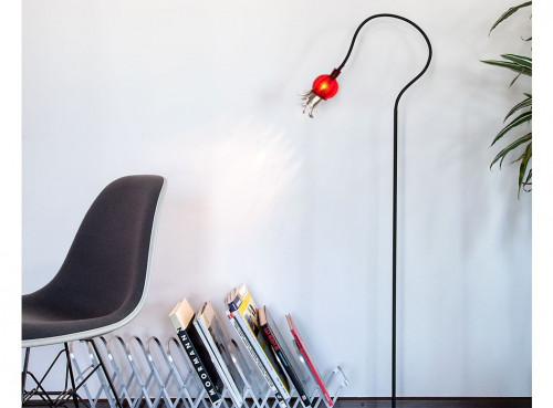 Serien Lighting Poppy Floor 1 arm black arm, red shade and steel black base