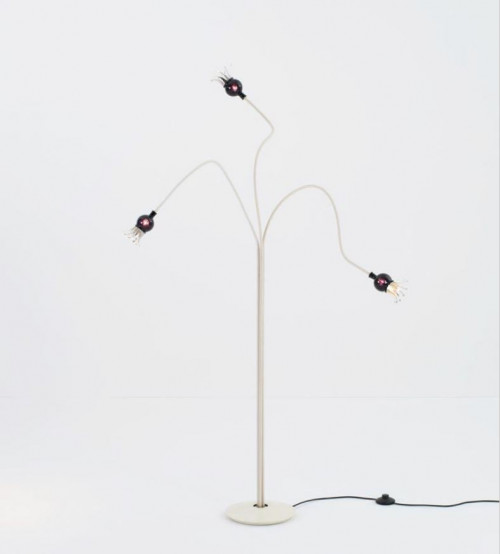 Serien Lighting Poppy Floor 3 arms beige arms, shades black violet and cream lacquered base