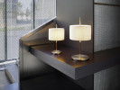 Bover Danona T shade white, nickel with leather (at the right)