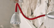 Less'n'more Athene Wall / Ceiling Light A-BDL2 aluminum, flex arm textile red