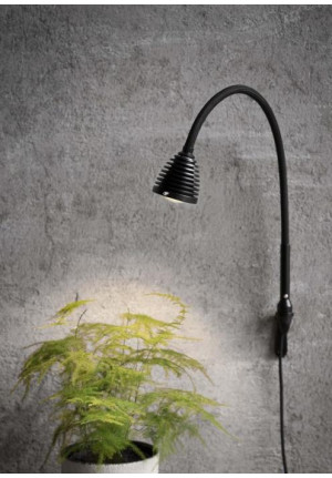 Less'n'more Athene Wall Light small A-WL1 black, flex arm textile black (Wall bracket in black on request)