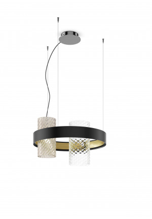 Vistosi Armonia SP 50 Version 9, diffusers smoke and crystal, body black-brass