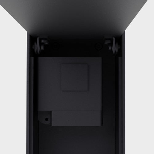 IP44.DE Jack black with opened cover plate from the side