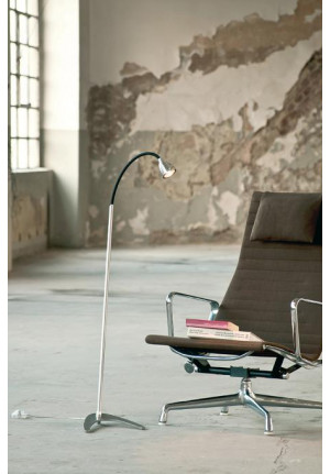 Less'n'more Athene Floor Light A-SL aluminum, flex arm textile black