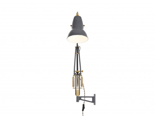 Anglepoise Original 1227 Brass Lamp with Wall Bracket grey