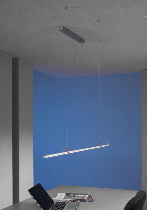 Escale Slimline pendant lamp 120 cm with red clips