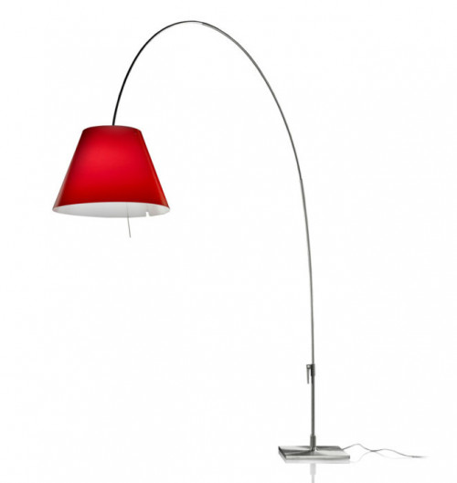 Luceplan Lady Costanza Floor Dimmer shade red frame alu