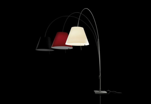 Luceplan Lady Costanza Floor Dimmer black, red and white