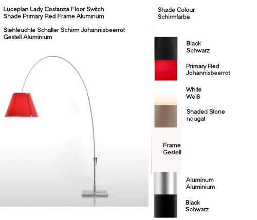 Luceplan Lady Costanza Floor Switch colours