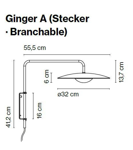 Marset Ginger A with plug lead graphic